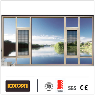 High Quality Aluminium Casement Window with Fixed Part Optional Grills Design for House