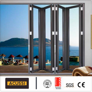 Villa Project Broken Bridge Aluminum Bi Folding Door Anti-Theft Bi Folding Door with Double Tempered Glass