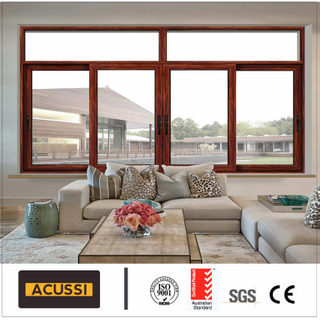 Whosale Interior Wood Gain Aluminum Alloy Sliding Window Classic Design for Villa Building Project