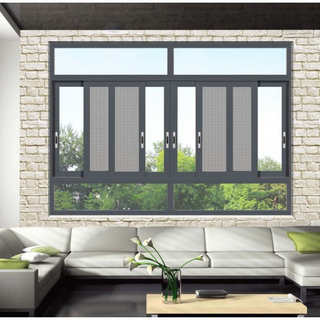 Aluminum Shutter Window Aluminium 3-Track Broken Bridge Sliding Window with Mosquito Net for House Hall