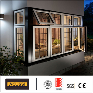 Aluminium Casement Wood Grain Window with Australia Standard with Double Tempering Glass Mosquito Net