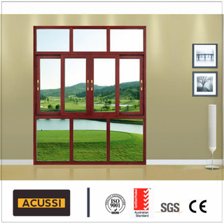 Aluminum Waterproof Sliding Window Soundproof Window with Double Tempered Glass in Australia Standard